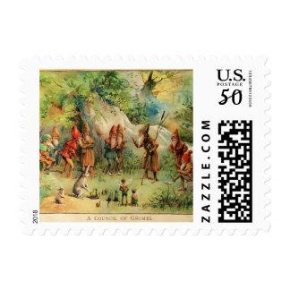 Vintage Fairytale Gnomes Illustration Stamp