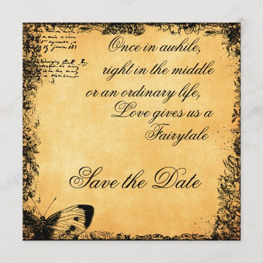 Vintage Fairytale Love Quote Save the Date