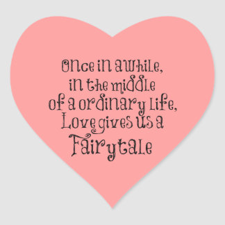 Vintage Fairytale Love Quote Heart Sticker