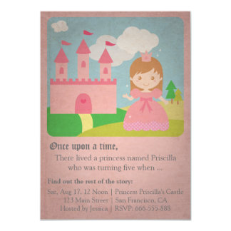 Vintage Fairytale Princess, Girl Birthday Party 4.5x6.25 Paper Invitation Card