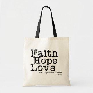Vintage Faith Hope Love Canvas Bag