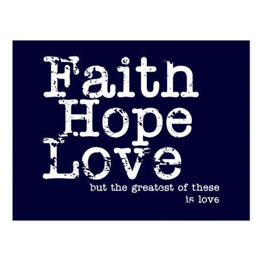 Vintage Faith Hope Love Postcard