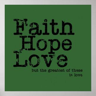 Vintage Faith Hope Love Poster