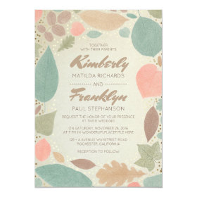 Vintage Fall Colorful Leaves Gold Dots Wedding Card