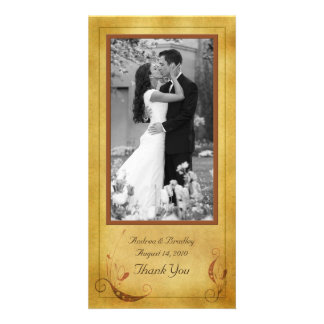 Vintage Fall Country Floral Wedding Photocard Photo Card