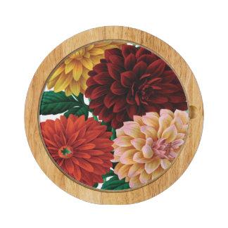 VINTAGE FALL dahlias vintage Round Cheese Board