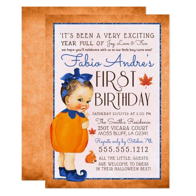 Vintage Fall First Pumpkin Birthday Boy Invitation