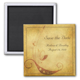 Vintage Fall Floral Wedding Save the Date Magnet