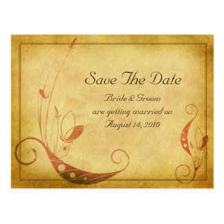 Vintage Fall Floral Wedding Save the Date Postcard