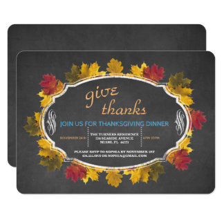 Vintage Fall Foliage Chalk Give Thanks Invite