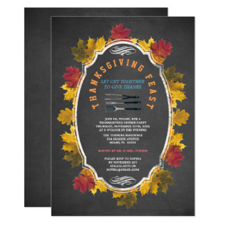 Vintage Fall Foliage Chalk Thanksgiving Feast Invitation