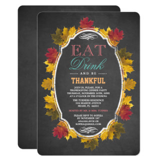 Vintage Fall Foliage Chalk Thanksgiving Party Card