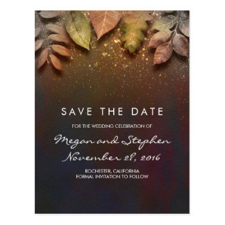 Vintage Fall Leaves and Gold Glitter Save the Date Postcard