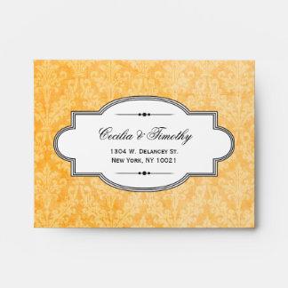 Vintage Fall Spice Damask Wedding RSVP Linen A2 Envelope