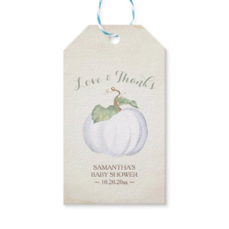 Vintage Fall Themed Watercolor White Pumpkin Gift Tags