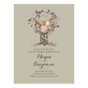 Vintage Fall Tree Harvest Save The Date Postcard