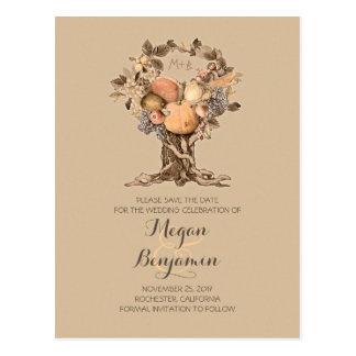 vintage fall tree harvest save the date postcard