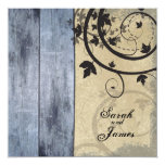 Vintage Fall Wedding Invitation Blue Barn Board