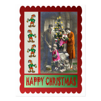 Vintage family Christmas Postcard