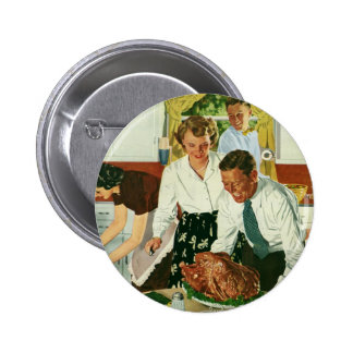 Vintage Family Cooking Thanksgiving Dinner Kitchen Button