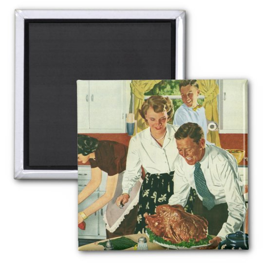 Vintage Family Cooking Thanksgiving Dinner Kitchen Magnet