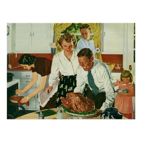 Vintage Family Cooking Thanksgiving Dinner Kitchen Poster