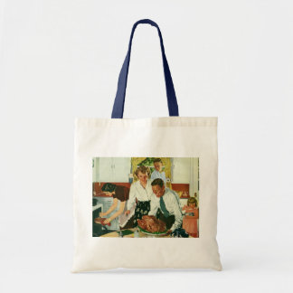Vintage Family Cooking Thanksgiving Dinner Kitchen Tote Bag
