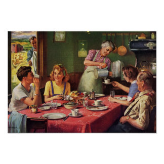Vintage Family Eating Breakfast in the Kitchen Poster