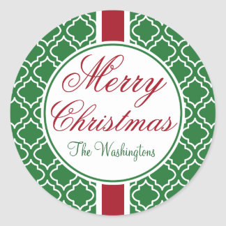Vintage Family Green Merry Christmas Stickers