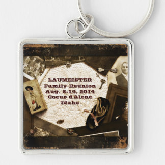 Vintage Family Heirlooms Family Reunion Silver-Colored Square Keychain
