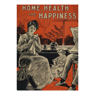 Vintage Family Home Health Happiness Typography Poster
