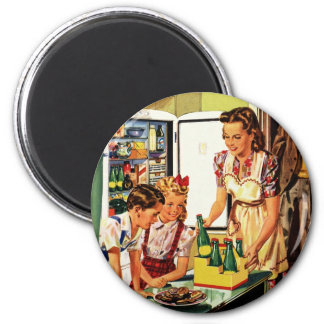 Vintage Family in the Kitchen Mom Dad Kids Snack 2 Inch Round Magnet