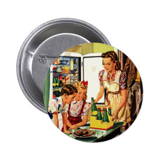 Vintage Family in the Kitchen Mom Dad Kids Snack Button