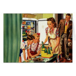 Vintage Family in the Kitchen Mom Dad Kids Snack Card