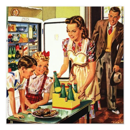 Vintage Family in the Kitchen Mom Dad Kids Snack 5.25x5.25 Square Paper Invitation Card