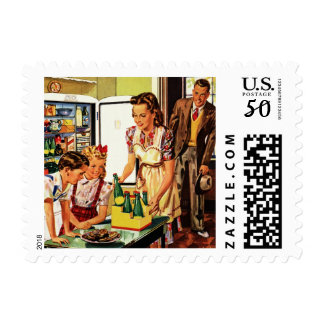 Vintage Family in the Kitchen Mom Dad Kids Snack Postage