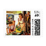 Vintage Family in the Kitchen Mom Dad Kids Snack Stamp