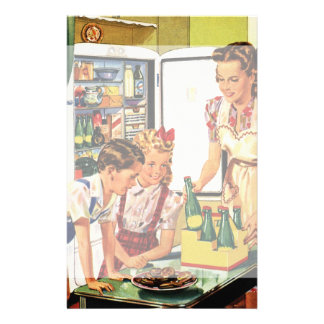 Vintage Family in the Kitchen Mom Dad Kids Snack Stationery