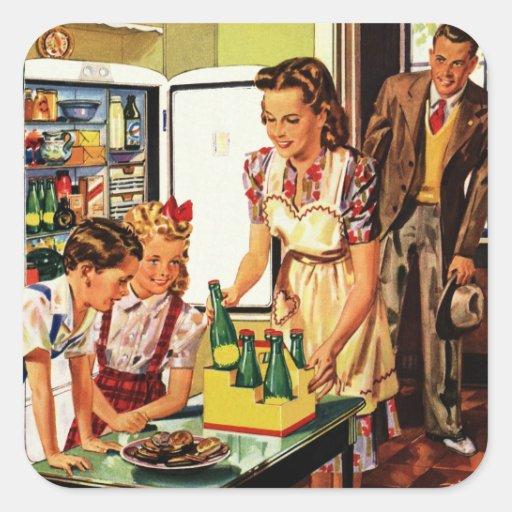 Vintage Family in the Kitchen Mom Dad Kids Snack Sticker