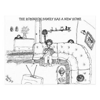 Vintage Family Living Room New Address Postcard