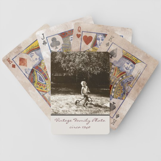 Vintage Family Photo Customized Bicycle Playing Cards