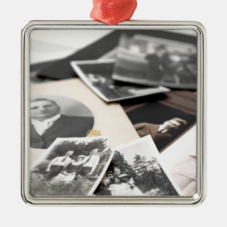 Vintage Family Photographs Metal Ornament