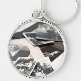 Vintage Family Photographs Silver-Colored Round Keychain