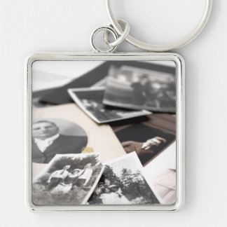 Vintage Family Photographs Silver-Colored Square Keychain