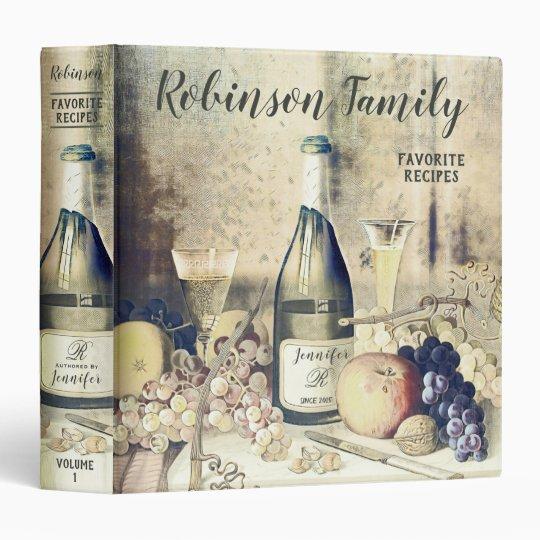 Vintage Family Recipe Cookbook 3 Ring Binder