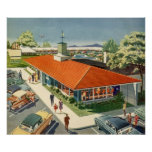 Vintage Family Restaurant with Customers Print