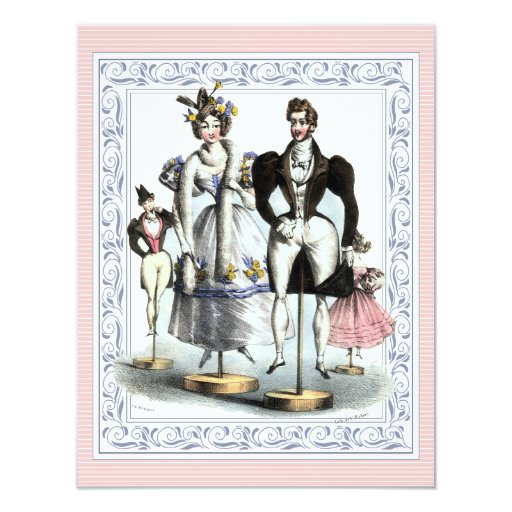 Vintage Family Reunion Fashionable Family 4.25x5.5 Paper Invitation Card