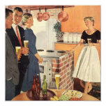 "Vintage Family Reunion, Kitchen Party People 5.25"" Square Invitation Card"