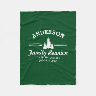 Vintage Family Reunion or Trip   Rustic Pine Trees Fleece Blanket