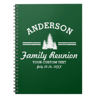 Vintage Family Reunion or Trip | Rustic Pine Trees Spiral Notebook